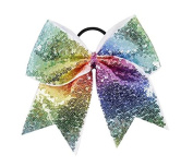 """New """"FANCY SEQUIN Rainbow"""" Cheer Bow Pony Tail 7.6cm Ribbon Girls Hair Bows Cheerleading Dance Practise Football Games Competition Birthday"""