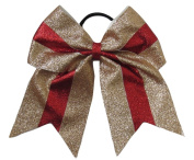 """New """"TWINKLE Gold & Red"""" Cheer Bow Pony Tail 7.6cm Ribbon Girls Hair Bows Cheerleading Dance Practise Football Games Competition Birthday Christmas"""