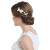 HailieBridal Women's Crystal Floral Wedding Bridal Hairpin