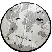 Comfysail Baby Kids World Map Playmat Round Canvas Storage Bag carpet Diameter 135cm Beige