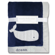Wendy Bellissimo Super Soft Plush Baby Blanket - Whale Baby Blanket from the Savannah Collection in Blue & Grey.