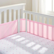 Teeny4Baby Breathable Crib Bumper Pink, Mesh crib Liner