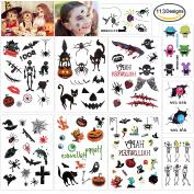 Konsait Halloween Temporary Tattoos Bulk Monster Pumpkin Tattoos Party Favour Accessory for Kids Children