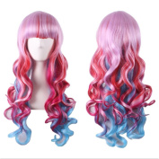 Morningsilkwig Colour Gradient Long Women Hair Sets Curly Wave Bang Long Synthetic Hair Wigs Hat for Women