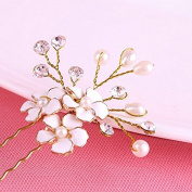 Elegant Women Crystal Beads Glaze Flower Pearl Bridal Hair Clip Hair Pin Jewellery