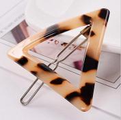 Beige Triangle - Women Ladies Circle Triangle Geometric Leopard Grain Barrette Hair Clip Hairpin
