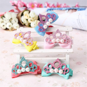 Stylish Headwear Hairpins Children Accessories Hair Pin Shiny Leather Crown with Pearl Barrettes Baby Girls Ribbon Bow Hair clip