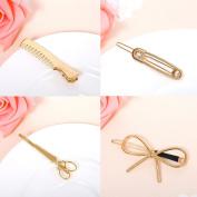 Gold Comb + save pin + Scissors + bow - Fashion Women Metal Crystal Rhinestone Bobby Hair Pin Barrette Clip Hairpin