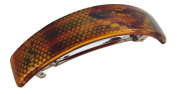 Parcelona French Golden Mesh Choco Dark Brown Curved Strong Grip Celluloid Automatic Large Hair Clip Hair Barrette