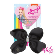 JoJo Siwa Signature Collection Small Keeper Hair Bow, Earing and Necklace Gift Set - Black Bow with Rhinestone Keeper With Sticker Patch Set Included