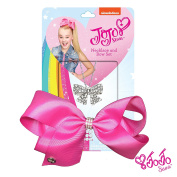 JoJo Siwa Signature Collection Small Keeper Hair Bow and Large Necklace Gift Set - Pink Bow with Rhinestone Keeper/ Silver Bow Necklace With Sticker Patch Set Included