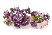 Rose hair barrette metal crystal rhinestones bridal hair claw clip Barrette by beautyxyz