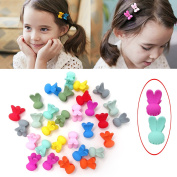 Honbay 30PCS Candy Colours Princess Rabbit Ear Shaped Mini Hair Claws Hair Bangs Clips Hair Pins Both for Little Girls and Adult Girls