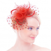 Women Girls Feather Net Veil Headpiece Hat Flower Fascinator Hair Clip Cocktail Party Derby Hat Wedding Bride Headdress