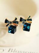 2017 New Fashion Austrian Crystal Delicate Blue Green Water Cubic Beautiful Box Bow Earrings