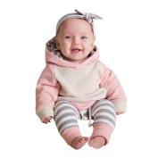 Exteren 3pcs Toddler Baby Boy Girl Clothes Set Hoodie Tops+Pants+Headband Outfits