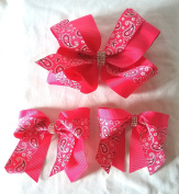 New Paisley Hair Bows with Rhinestone Accent, 1 Big Hair Bow and 2 Small Bows Hair Clips Accessories - (3 Items)