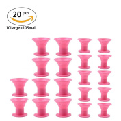 20 Pcs Hair Care Rollers, No Clip Sillcone Hair Curlers, Magic Professional Hair Styling Tool Hair Accessories for Nice Curls, Pink