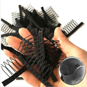Premier Crown Hair 7 Theeth Stainless Steel Wig Combs For Wig Caps Wig Clips For Hair Extensions Strong Black Lace Hair Comb