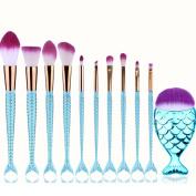Mermaid Makeup Brushes Set Blue, YJM Fish Foundation Brush 10pcs Soft Nylon Bristles Beauty Make Up Kits, Blending Blush Concealer Eye Face Lip Cosmetic Tools - Multi-colour Gradient
