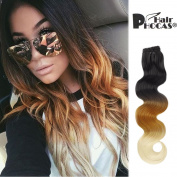 HairPhocas 50cm Long Curly Wave Ombre Cosplay Clips in on Synthetic Hair Extensions Hairpieces for Women with 18 clips #1B/27/613