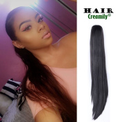 Creamily 46cm Long Straight Synthetic Clip In Claw Ponytail Hair Extension Synthetic Hairpiece 180g