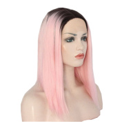 DAYISS 36cm Lace Front Lady Fashion Pink Gradient Wig Medium Long Straight Beauty Hair Cosplay