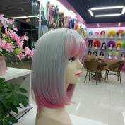 Short Ombre Wigs for Women With bangs Synthetic Cosplay Pink Hairs