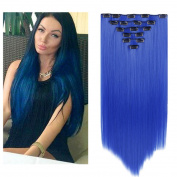 Queentas 8Pcs 50cm Fashion Sexy Straight Full Head Clip in on Hair Extensions Hairpiece