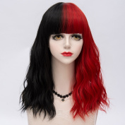 Black Mixed Red Medium 45CM Slight Curly With Bangs Heat Resistant Lolita Fashion Women Cosplay Wig + Wig Cap