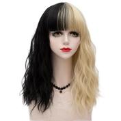 Black Mixed Blonde Medium 45CM Slight Curly With Bangs Heat Resistant Lolita Fashion Women Cosplay Wig + Wig Cap