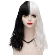 Black Mixed White Medium 45CM Slight Curly With Bangs Heat Resistant Lolita Fashion Women Cosplay Wig + Wig Cap