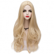 Blonde Long 75CM Slight Wavy Heat Resistant Lolita Fashion Women Cosplay Wig + Wig Cap