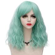 Aqua Green Medium 45CM Curly Heat Resistant Lolita Fashion Women Cosplay Wig + Wig Cap