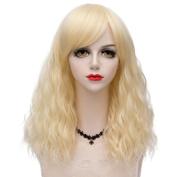 Blonde Medium 45CM Curly Heat Resistant Lolita Fashion Women Cosplay Wig + Wig Cap