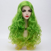 Green Mixed Yellow Ombre Long 75CM Curly Heat Resistant Lolita Fashion Women Cosplay Wig + Wig Cap