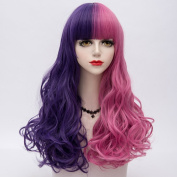 Purple Mixed Pink Long 65CM Curly With Bangs Heat Resistant Lolita Fashion Women Cosplay Wig + Wig Cap
