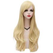 Blonde Long 80CM Slight Wavy Heat Resistant Lolita Fashion Women Cosplay Wig + Wig Cap