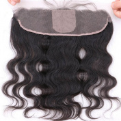 Nobel Hair Slik Base 13x4 Lace Frontal Closure Human Hair with Baby Hair for Black Women Body Wave Brazilian Virgin Hair 13x4 Ear to Ear Bleached Knots Free Part Natural Color10Inch