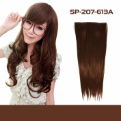 Beauty 46cm 50cm 60cm Synthetic Straight Single Tone Hairpiece Hair Extensions 3/4 Full Head Clip - 5-Clip Piece
