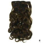 Deifor Long Full Head Big Curly Wave Synthetic Light Brown Hair Extensions Clips in Hairpieces 7pcs