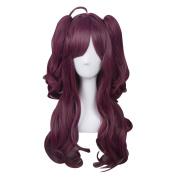 TOP-MAX Dark Purple Long 80cm Wavy With Ponytail Heat Resistant Cosplay Wig Fashion Lolita Lady