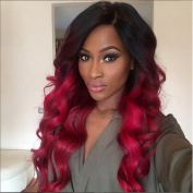 TBWIGA Body Wave Wig Long Ombre Wine Red Colour Synthetic Hair Wig With Bangs For Black Women High Temperature Fibre