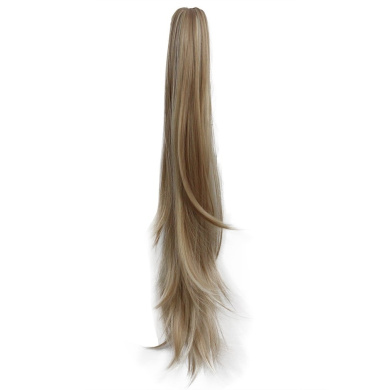 sunshine Susi Synthetic Claw Ponytail Heat Resistant Handy Jaw Pony Tail One Piece Long Straight Soft Silky for Women Lady Girls (A-golden brown)