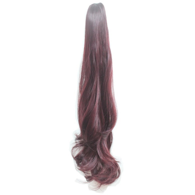 sunshine Susi Synthetic Claw Ponytail Heat Resistant Handy Jaw Pony Tail One Piece Long Wave Soft Silky for Women Lady Girls (B-Claret)