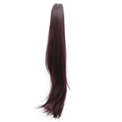 sunshine Susi Synthetic Claw Ponytail Heat Resistant Handy Jaw Pony Tail One Piece Long Straight Soft Silky for Women Lady Girls (A-Claret)