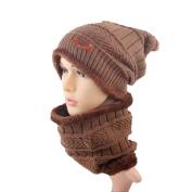 Lanhui_2pcs Men Or Women Winter Warm Knitted Hat Cap Skullies Beanies Circle Scarf