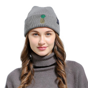 Lanhui_Pineapple Embroidered Men Women Baggy Wool Knit Ski Beanie Hat