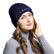 Lanhui_Letter Embroidered Baggy Wool Knit Ski Beanie Hat for Men Women