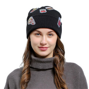 Lanhui_Lovely Women Baggy Wool Knit Ski Beanie Hat Ice Cream Patch Eye Embroidery